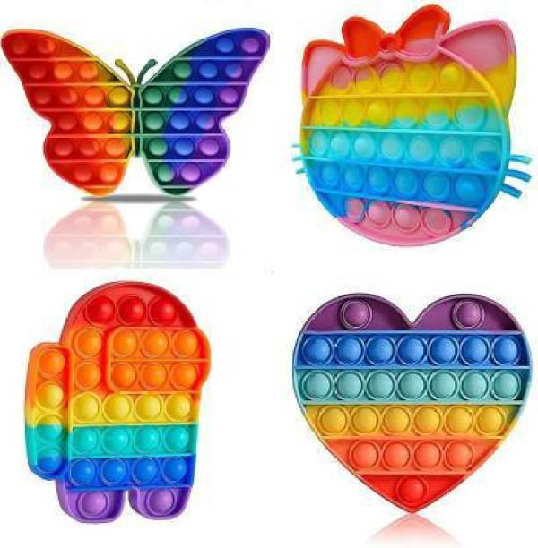 SARASI Presents Combo of 4Pcs of [Butterfly, Kitty , ROBOT and Heart] Shape Pop It Fidget Toys Silicon Stress Relief Toy for Girls, Boys, Kids , Adults Push Pop Bubble Fidget Gift Toy for Children/Adults Indoor Outdoor Game [Multicolor]