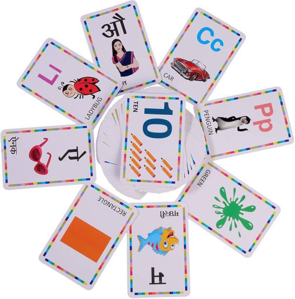nextin Activity Flash Cards 6 in 1 Alphabet, Number, Color, Shape and Letters Activity for Pre-School Learning (Set of 6 , Age 3+, 54 Double Side Card)