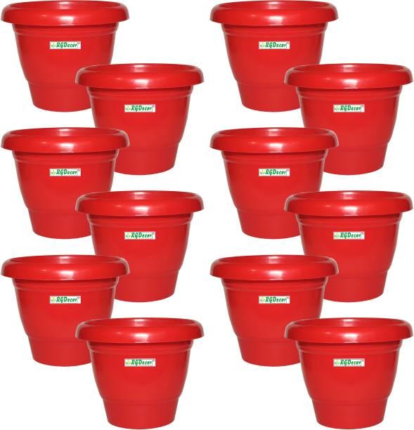 RGDECOR Red 12 Pcs. - 10 Inches Diameter Premium Plant Container [Height 8 Inches] Plant Container Set