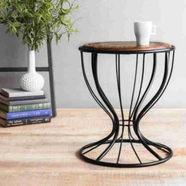 Woodshopee Iron stool Iron table bedside table home stool wooden table iron table garden tabe Solid Wood Bedside Table