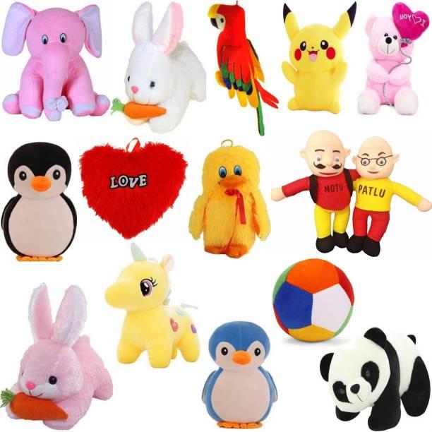 Macros Classic Super Soft 15 Complete Family Pack Stuffed/soft toy Combo of Teddy Bear in Budget for kids / Gift , Parrot , Elephant , Penguin , Panda , Duck , Unicorn , Pikachu , Rabbit , Motu patlu , Heart pillow , ball ,  - 25 cm