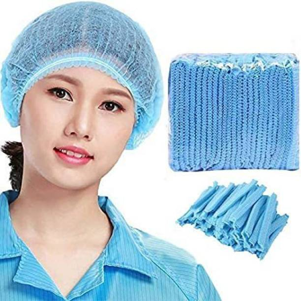 Crystal Care - Disposable Stretchable Blue Bouffant Caps / Surgical Caps / Cooking Caps / Non Woven Head Cover Premium Quality Fabric Used ( Pack of 50 ) Surgical Head Cap