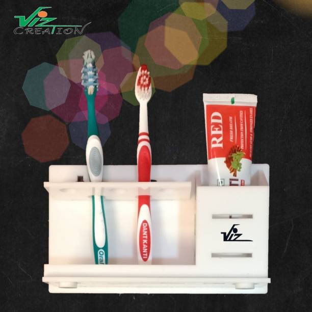 Viz Creation Unique Bathroom 5 Toothbrush Holder & Toothpaste Holder Wall Mounted and Counter top with Original 3m Tape for Bathroom Export Quality Acrylic Toothbrush Holder