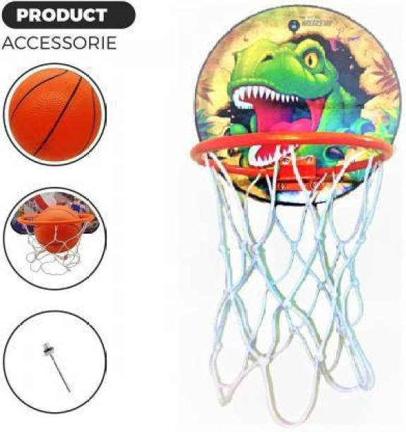 Eazekray Basket Ball for Kids Portable Set with Hanging Board, net, Ball Indoor and Outdoor Game high Quality Material Gift Set (100% Made in India) Baseball Kit Basketball