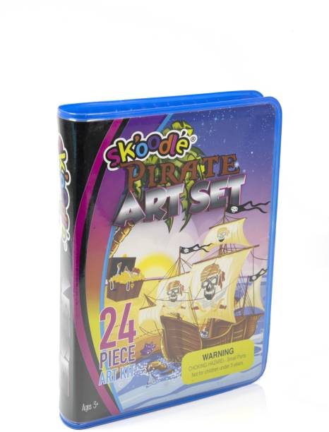 SKOODLE Pirate 24 Piece Art Set For kids, with a Plastic Carry Case