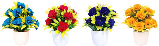 NERAPI Beautiful Mix Desing SRBY Flower Set Multicolor Rose Artificial Flower  with Pot