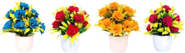 NERAPI Beautiful Mix Desing SRYP Flower Set Multicolor Rose Artificial Flower  with Pot