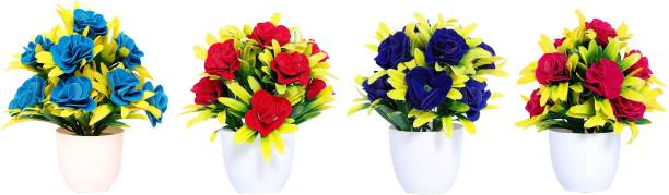 NERAPI Beautiful Mix Desing SRBP Flower Set Multicolor Rose Artificial Flower  with Pot