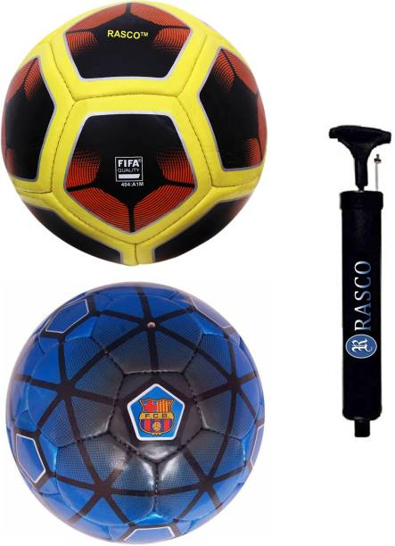 RASCO FCB LIGHT BLUE AND 12 PANEL RED WITH PUMP Football - Size: 5