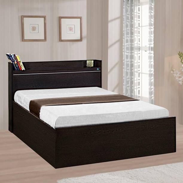Delite Kom Plum Single Box Storage with Open Headboard Shelf Engineered Wood Single Box Bed