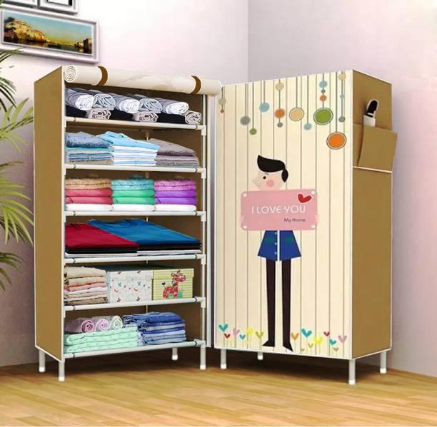 Sasimo 1 Door 6 Shelf Fabric PP Carbon Steel Collapsible Wardrobe