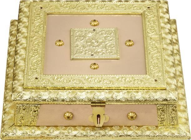OTTER WOODEN DRY FRUITS BOX, OXIDIZED MINAKARI WORK DRY FRUITS BOX, STORAGE BOX, GIFTS BOX, WEDDING ITEM, ALUMINIUM COVERED BOX Wood Decorative Platter