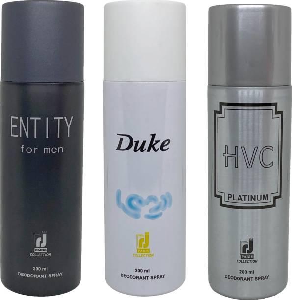 R J PARIS ENTITY + DUKE + HVC PLATINUM Deodorant Spray  -  For Men & Women
