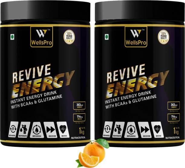WellsPro Revive Instant Energy Sports Drink Powder 2kg [57 servings,Orange] For Men & Women Sports Drink