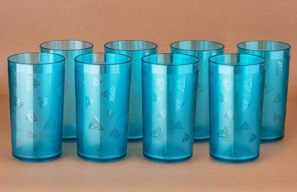 Centureum (Pack of 8) 100% UNBREAKABLE Prism Water Juice Drinking Glasses Set Of 8 For Kitchen Glass Set