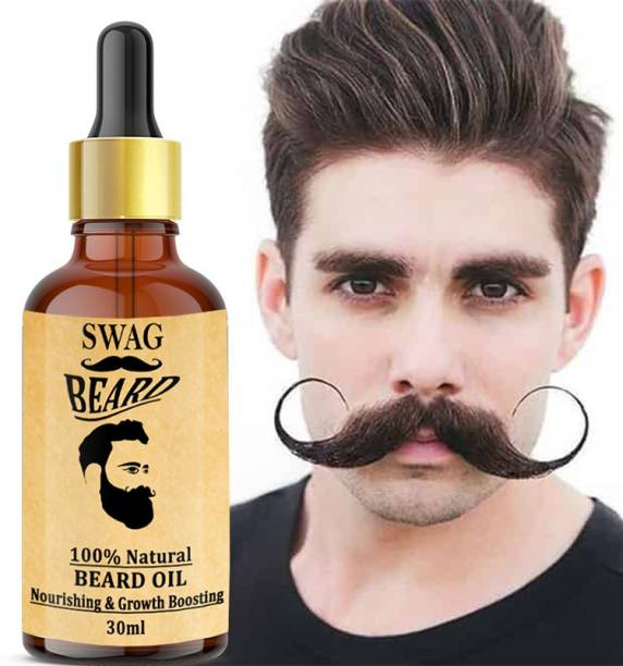 Swag Standard Beard Growth Oil - (Argan and Jojoba) No SLS, No Paraben Hair Oil Non-Sticky, Light Beard Oil for Men| Pleasant Fragrance | Ideal for daily use|Nourishes and Strengthens Beard | Provides Shine to Beard | Prevents dry and flaky beard  Hair Oil