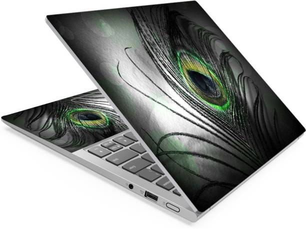 Anweshas Black Feather Full Panel Laptop Skins Upto 15.6 inch - No Residue, Bubble Free - Removable HD Quality Printed Vinyl/Sticker/Cover Self Adhesive Vinyl Laptop Decal 15.6