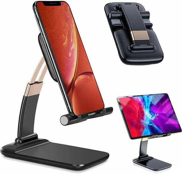 airtech Desktop Mobile Phone Holder Mount Stand Flexible Foldable Portable for Study Online Classes, Watching Videos Movies - for Office, School, Home for All Smartphones & Tablets (Black) Mobile Holder