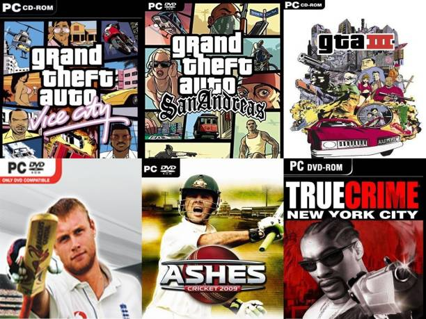 Vice City, SanAndreas, Gta 3, Cricket 07, Ashes Cricket 09, True Crime Total 6 Game Combo (Regular)