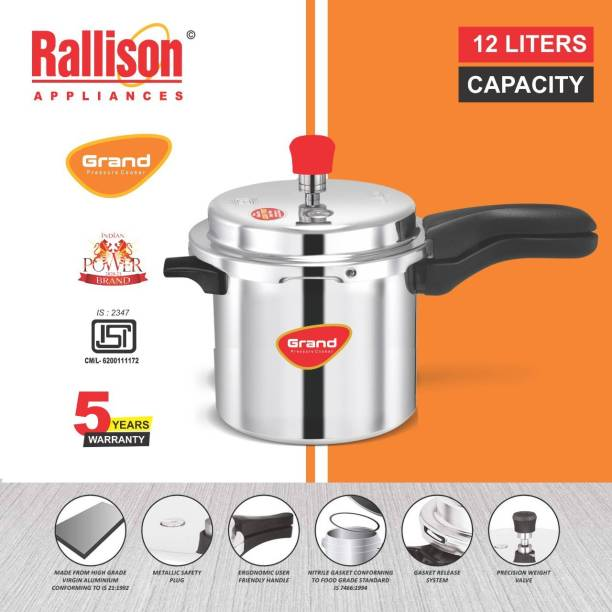 Rallison Appliances GRAND ISI Certified 12 L Pressure Cooker