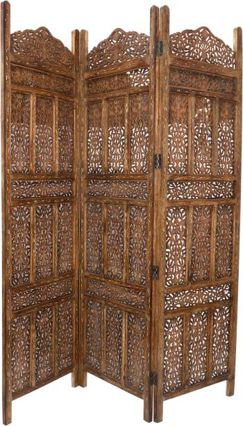 Decorhand Handcrafted 3 Panel Wooden Room Partition & Room Divider (Brown) Mango Wood Decorative Screen Partition Solid Wood Decorative Screen Partition