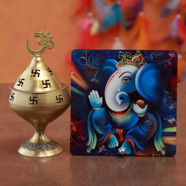 Ferns N Petals Akhand Diya With Ganesha Table Top For Diwali Decorative Showpiece  -  10 cm