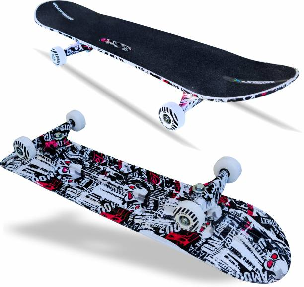 Jaspo Hurricane Red Skull Skateboard Suitable for Age Group Above 8 Years 31 inch x 8 inch Skateboard