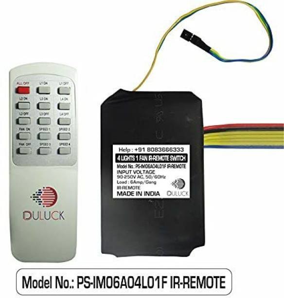 Duluck remote controller for 4 lights-Off/On and 1 fan-speed 0,1,2,3,4. Elderly, kids and servants can easily operate with remote or manually with wall switch like they are used to. Support Wi-Fi IR Blaster to Convert it to IoT