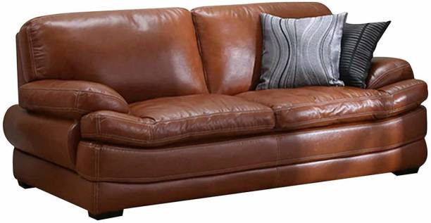 CasaStyle Bressany 3 Seater Sofa Set in Leatherette (Brown) Leatherette 3 Seater  Sofa