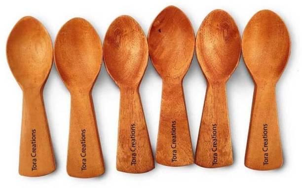 Tora Creations Neem Wooden Coffee Spoon, Measuring Spoon, Serving Spoon, Sugar Spoon, Table Spoon, Tea Spoon Set