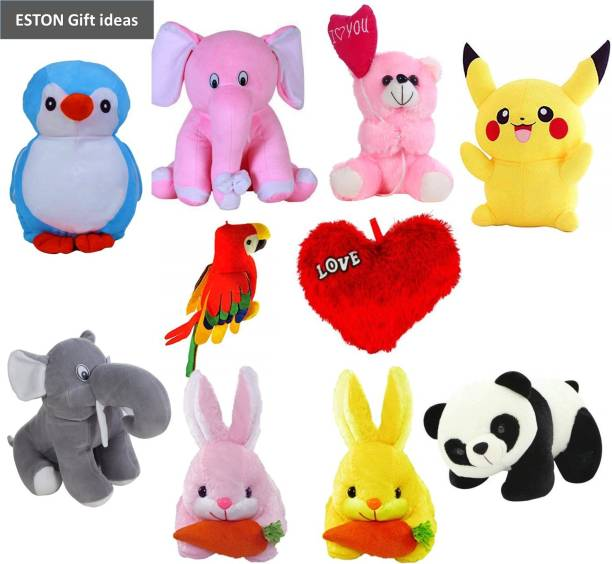 eston Classic Combo Of 10 (Penguin, Elephant, Pikachu, Balloon Teddy, Parrot, Panda, Rabbit, Unicorn) Soft Toy | Birthday Gift for Girls/Wife, Boyfriend/Husband, Soft Toys Wedding/Anniversary Gift for Couple Special, Baby Toys Gift Items  - 30 cm