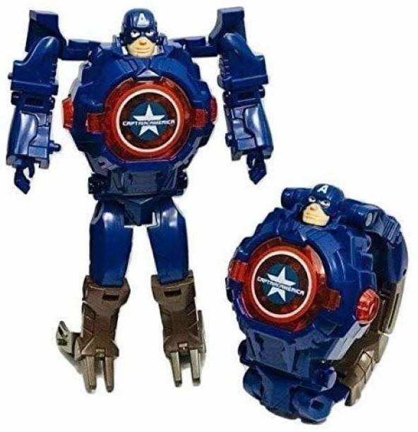 ARONET Captain America Transformer Robot Toy Convert to Digital Wrist Watch for Kids- Robot Deformation Toy Watch Light Glow in Dark on Button Press