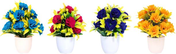 NERAPI Beautiful Mix Desing SPBY Flower Set Multicolor Rose Artificial Flower  with Pot