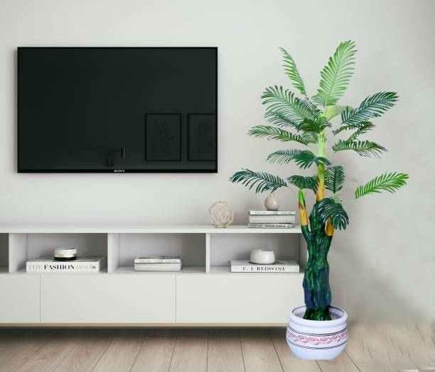 KAYKON 5 Feet Artificial Palm tree Green Money Plant Areca Tree For Home Decor Office Decor Hotel Decoration Without Pot Artificial Plant