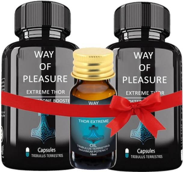 Way Of Pleasure Ayurvedic 30x30 Capsule With Oil 15 ml For Mens Testo Booster