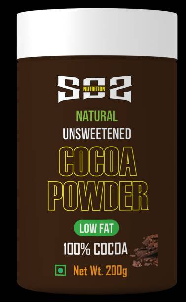 SOS Nutrition Natural Unsweetened Low Fat 100% Pure Cocoa Powder Topping