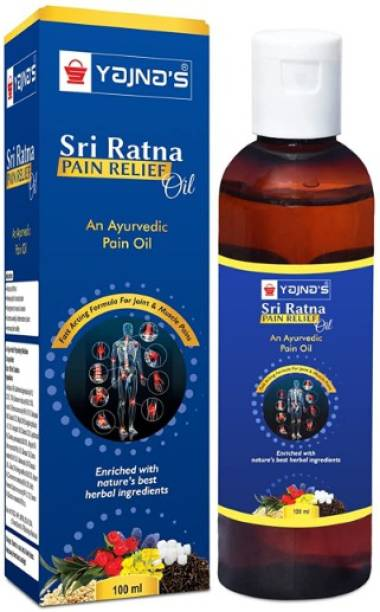YAJNAS Sri Ratna 100 ml (Pack of 1) Ayurvedic / Natural Pain Relief Oil for Knee, Shoulder and Muscular Pain, Arthritis Pain, Joint Pain, Back Pain, Upper Back Pain, Sprains and Spasms Liquid