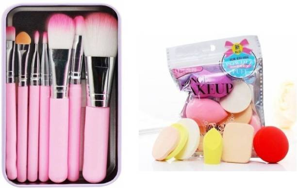 AVTY Makeup hellokitty brush set of 7 with Sponge puff blender Set of 6 (13 Items in a Set) (Pack of 13)