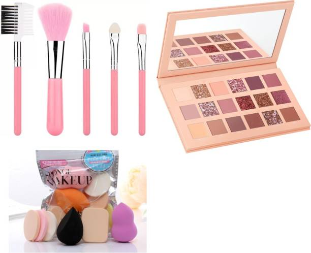 Bingeable Professional Makeup Brushes 5 Pcs Set & Pack of 6 Washable Makeup sponges/ Blender/ Puff With 18 Colors Professional Nude Edition Eye Shadow Palette