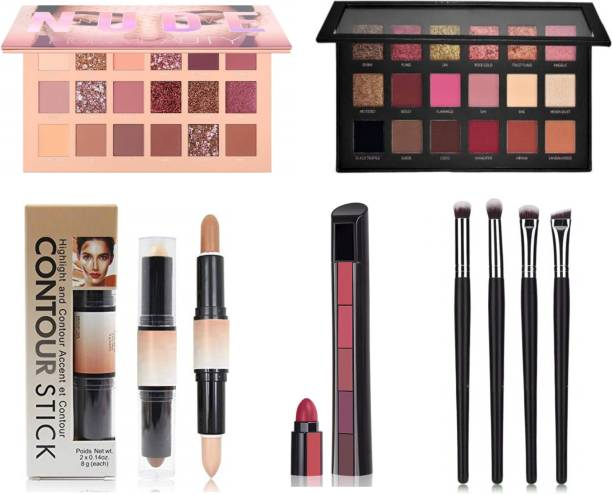 HUDA CRUSH BEAUTY Makeup kit Eyeshadow Palette with Brush Set for Girls,Nude Edition and Rose Gold Remaster Edition Eye Shadow Pallet, 4Pcs Black Eyeshadows Blending Brushes, 5in1 Matte Fab Lipstick, and 2in1 Highlighter Concealer Contour Stick