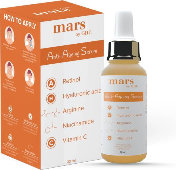 mars by GHC Anti Ageing Face Serum with 5% Niacinamide, 0.2% Retinol, Hyaluronic Acid, Arginine, Vitamin E, C, Collagen Booster,For Anti Wrinkle, Dullness & Reduce Fine Lines & Spotless Glow,