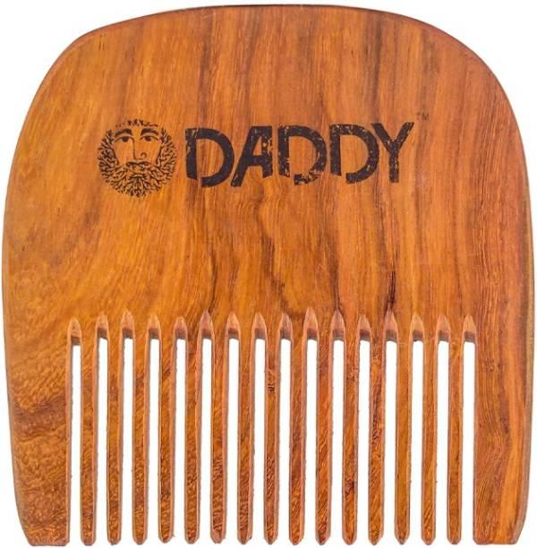 DADDY Handmade Wooden Beard Comb for Men made from Sheesham Wood | U shaped | Slim | Compact | Light weight