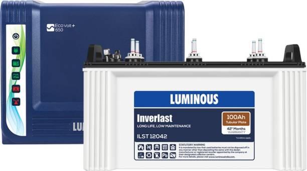 LUMINOUS Eco Volt + 650 with ILST12042 100AH Tubular battery Tubular Inverter Battery