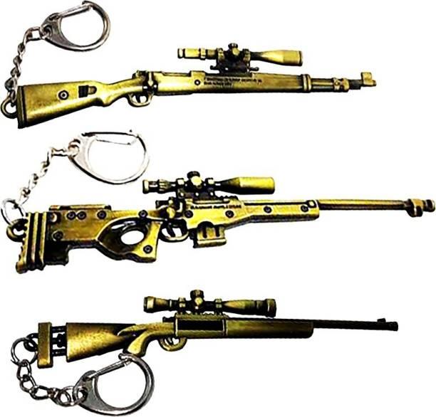 eweft Pubg Theme Key Chain Combo Set of 3 Kar98 M24 & AWM Gold Sniper Gun Key Rings / Pubg Keychains Key Chain