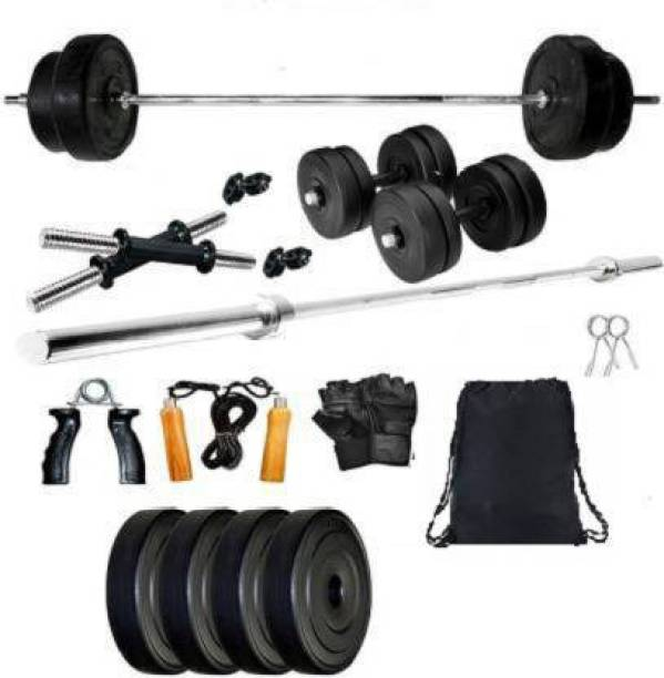 lifecare products 8 kg { 2 kg 4 pvc plate + 3 fit curl bar with accessories } best home set. Home Gym Kit