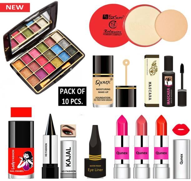 Lady Fashion 18 in One Premium Makeup Kit MKTC171209 ( Eyeshadow, Compact Powder, Foundation, Mascara, Nail Polish, Kajal, Eyeliner, 3 Lipsticks )