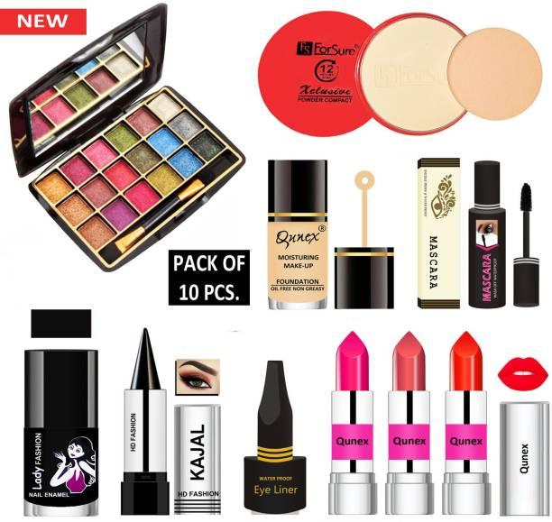 Lady Fashion 14 in One Premium Makeup Kit MKTC171205 ( Eyeshadow, Compact Powder, Foundation, Mascara, Nail Polish, Kajal, Eyeliner, 3 Lipsticks )