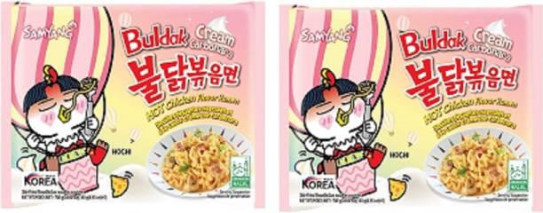 Samyang Hot Chiken Flavour Cream Carbo Instant Noodles Non-vegetarian