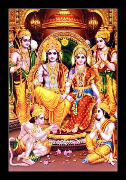 Asiwal Beautiful Shri Ram Darbar Wall Painting with Frame Digital Reprint 20 inch x 14 inch Painting