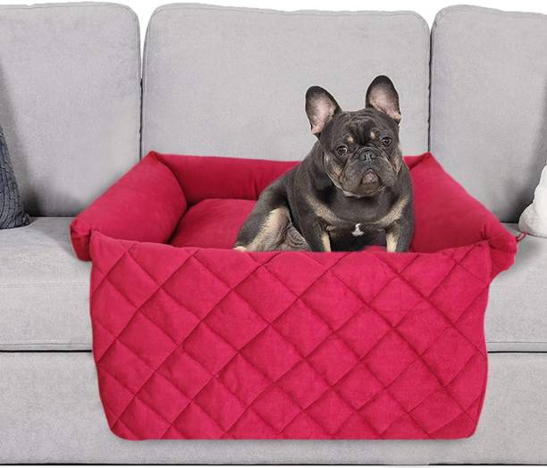 Hiputee Premium Washable Soft Velvet Bed with Foldable Blanket for All Breed Dogs and Cats S Pet Bed